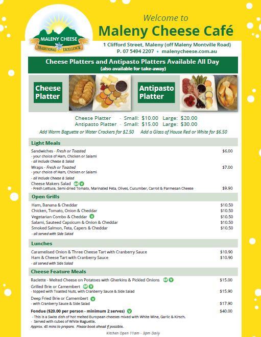 Maleny Cheese Cafe Menu